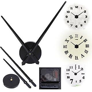 Alicemall Lautloses Quarz Uhrwerk Quarzwerk Aluminium DIY Uhrzeigern mit 2 Zeiger-Sets Wohnzimmer Kinderzimmer (Schwarz)