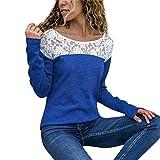 Langarmshirts Damen Casual Spitze Patchwork Shirt Elegante Bluse Beiläufig Oberteile (Blau,EU-36/CN-M)