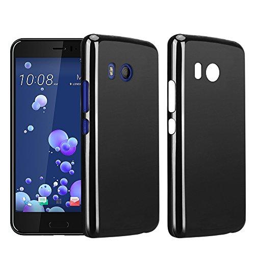 HTC U 11 Custodia, RIFFUE Copertura Protettiva Posteriore Opaca Chiara di Gel a Silicone Sottile Flessibile TPU Ultra Morbido per HTC U11 - Nero