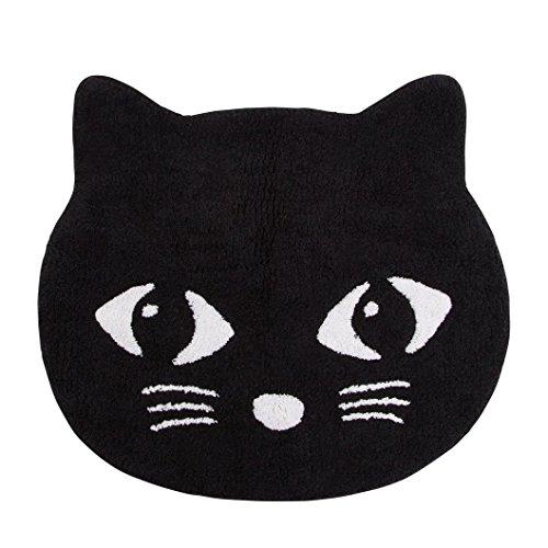Preisvergleich Produktbild Badteppich Vorleger Katze Katzer schwarz weiß 60x50cm