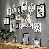 YMXLJF,Muro decorativo 11 scatole di cornice per foto in legno massello per foto portafoto/cornice per foto/cornice per foto combinata set di cornici fotografiche (Colore : Black and white)
