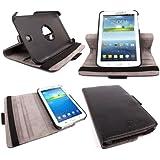 DURAGADGET Funda/Soporte Rígida Giratoria Negra De Piel Para La Tablet Samsung Galaxy Tab 3 De 7 Pulgadas