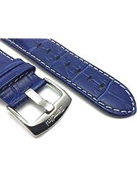 24mm Royal Blue para hombre de piel auténtica estilo cocodrilo correa de reloj banda, con bordado de color blanco