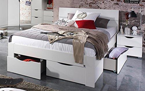 Bloominghome Bett mit 4 Schubkästen alpinweiß 140 x 200 cm Schubladenbett Funktionsbett