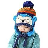 Happy Cherry Baby Kleinkind Wintermütze mit Ohrenschutz für Jungen und Mädchen - Blau
