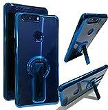 Coque Huawei Honor 8 Case Housse [Crystal Bumper][Transparent étui] [Housse de Protection] [Kickstand] [Anti Scratch Case] [Anti Chocs] Couleur de Galvanisation Pour Huawei Honor 8 (Honor 8, Bleu)