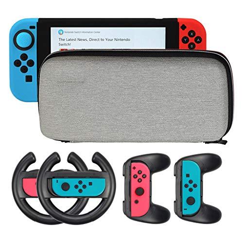 EUCoo Nintendo eShop Konsolen - Controller für Nintendo Switch - 2 Lenkräder für Nintendo Switch Lenkgriffe + Controller + Schutzhülle - Neonrot/Neonblau Siehe Abbildung FACA - Membran-module