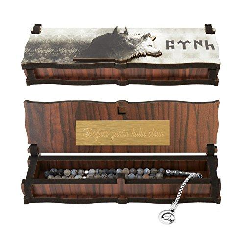 Gök-Türk Box Schatulle MIT GRAVUR aus Holz Handgemacht & Tesbih Gebetskette '2 Wölfe' Bozkurt Alttürkisch, ColorName:mit Gravur