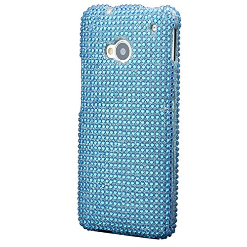 iCues HTC One M7 2 Part Strass Case Türkis | [Display Schutzfolie Inklusive] Strass Glitzer Glitter Luxus Bling Damen Frauen Mädchen Schutzhülle Hülle Cover Schutz