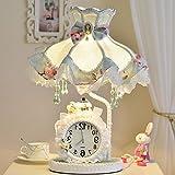 Stoff Garten Schlafzimmer Nachttischlampe Prinzessin Zimmer Tischlampe Kinderzimmer Warme Geburtstag Hochzeit Geschenke Uhr Tischlampe,EIN