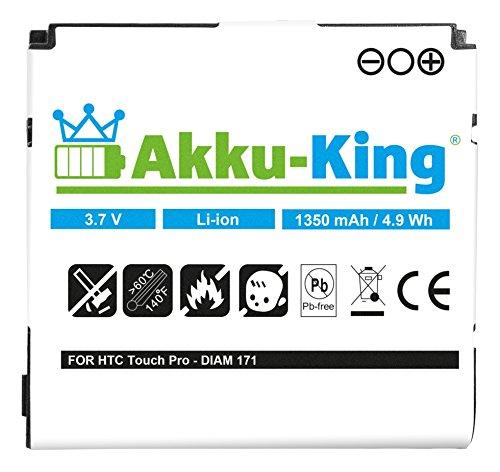 Akku-King Akku für HTC Touch Pro, Raphael, MDA Vario IV, O2 Xda Serra, Diamond Pro, T-Mobile MDA Vario 4 - Li-Ion ersetzt DIAM171, BA E270 - 1350 mAh