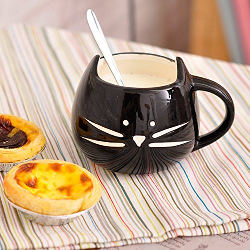 Snoopy-Tazza da caffè, in ceramica, a forma di gatto, Tazza in porcellana per tè, caffè, latte, Espresso, colore: acqua nero