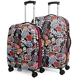 LOIS - 55500 SET 2 TROLLEYS POLICARBONATO, Color Negro