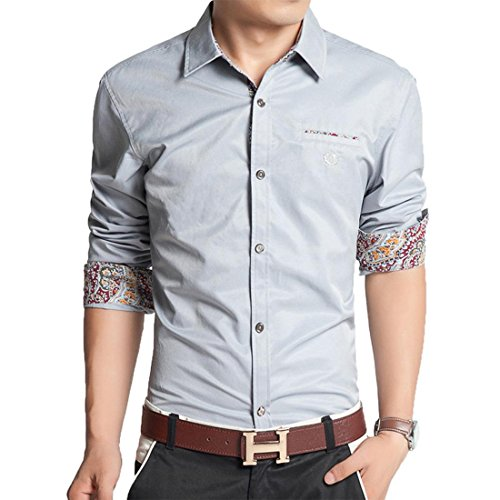 jeansian Herren Freizeit Hemden Shirt Tops Mode Langarmshirts Slim Fit MCF010 LightGray