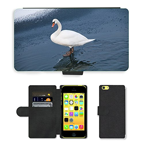 Just Mobile pour Hot Style Téléphone portable étui portefeuille en cuir PU avec fente pour carte//m00138593Swan Lake Canne d'hiver Glace Neige//Apple iPhone 5C