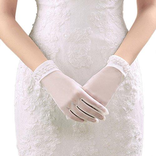 DreamyDesign Kurz Brauthandschuhe mit Perle Sonnenschutz Handschuhe (Beige)