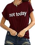 ROMWE Damen Top mit Spruch Buchstaben Sommer T Shirt ''not today'' Burgundy M