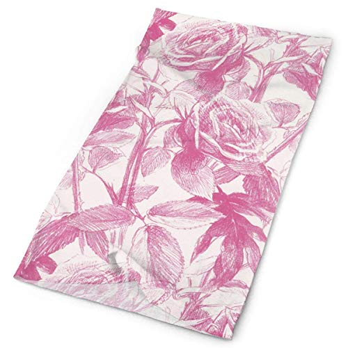 Pink Hand Drwan Flowers Headwrap Unisex Multifunction Kopfbedeckung Polyester Quick Dry Soft Headband Neck Scarf,Luxury Headdress Fashion Magic Head Scarf Bandana Mask Neck Gaiter for Men Women