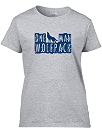 One Man Wolfpack Ladies Hoodie - Grey - XX-Large