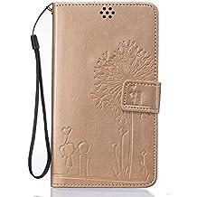 LG G4 Stylus Funda,LG G Stylo Funda Wallet Case,Carcasa LG G4 Stylus / LG G Stylo / LS770,LG G4 Stylus Carcasa Flip Case,LG G Stylo / LS770 Caso,EMAXELERS 3D Lujo Caso Funda protección Cubrir Origami de cuero sintético premium Monedero función con soporte para LG G4 Stylus / LG G Stylo / LS770 + 1 Pcs Stylus Pen Gold Dandelion Lover