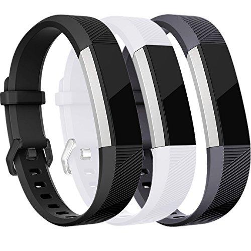 HUMENN Für Fitbit Alta HR Armband, Alta Armband Verstellbares Sport Ersatz Band Ersatzarmband Wristband Silikonarmband Fitness Zubehörteil mit Metallschließe,Small Schwarz/Weiße/Grau