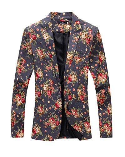 Herren Modern Slim Fit Business Vintage Blumenmuster Anzug Jacke Sakko Grau XL