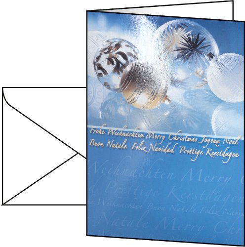 Sigel A6/ A5 Cardboard Christmas Cards with Golden Baubles (50 Pieces)