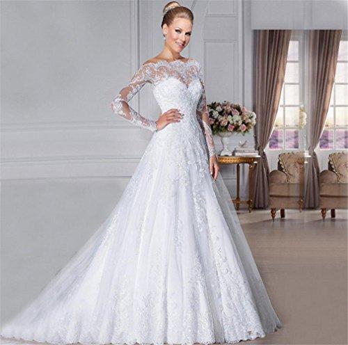 LUCKY-U Hochzeitskleid Brautkleid Lange Frau Elegantes Kleid Weiches Material Brautkleid...