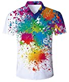 uideazone Unisex 3D Print Funny Mens Short Sleeve T-Shirts Multicoloured (Paint, XL)