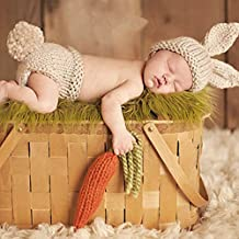 HAPPY ELEMENTS Bebé recién nacido Gorro de lana ganchillo hecho a mano accesorios de fotos Conjunto de vestuario (Conejo)