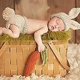 HAPPY ELEMENTS Nouveau né Bébé Handmade Crochet Bonnet photo Props Costume Set (Lapin)