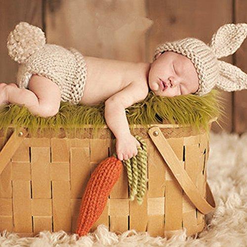HAPPY ELEMENTS Neugeborene Baby Handmade Crochet Knit Hat Foto Requisiten Kostüm-Set (Kaninchen) (Kaninchen Kostüm Für Kinder)