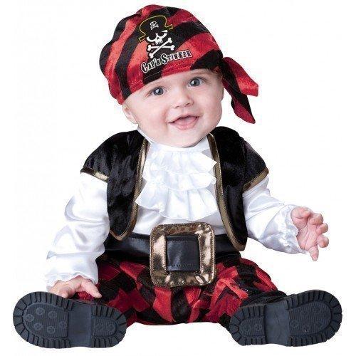 Baby Kostüm Jungen Verkleidung Pirat Kapitän Stinker Outfit Luxus Party Halloween - Schwarz/ Rot, 74-80 - 6-12 (Jungen Baby Kostüme Piraten)