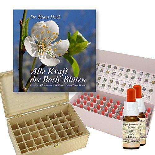 Komplettes Bachblüten Apothekenset 10ml: Alle 38 Bachblüten Stockbottles und 2x Five Flowers (Dr. Bachs Nr. 39). Inklusive Birkenholzbox, Buch 'Alle...