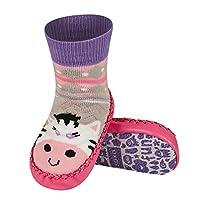 Chaussons chaussettes avec semelle en véritable cuir - Taille EUR 19-21 pour bébé 0-24 Mois ZEBRE