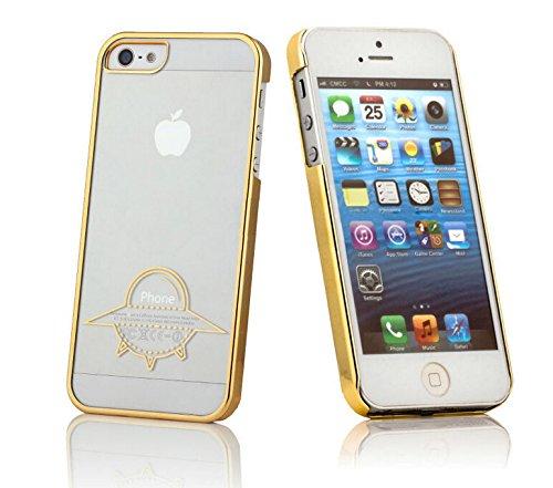 iProtect Schutzhülle Apple iPhone 6, 6s (4,7'') Hülle Totenkopf Skull Star Design in schwarz Gold UFO