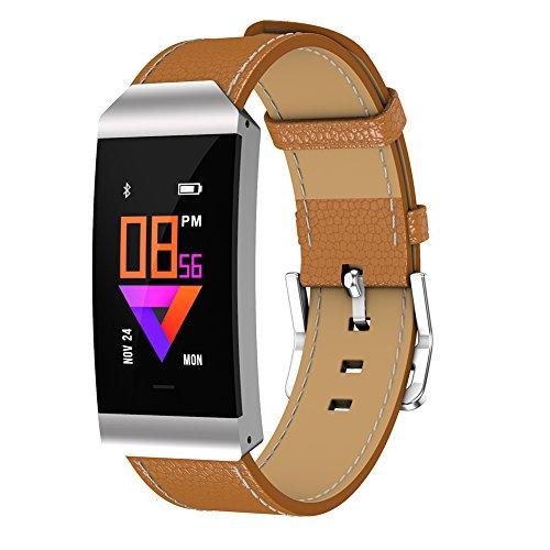 Uhruolo Smartwatch,Fitnessarmband mit Herzfrequen,Schrittzähler Schlaftracker Aktivitäts Tracker,Brown