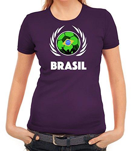 ShirtStreet Brasil Wappen Soccer Fussball WM Fanfest Gruppen Fan Wappen Damen T-Shirt Fußball Brasilien Lila