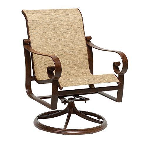 Woodard Belden Sling Swivel Rocker Aztekenbronze Aztec Bronze Linen Antique Beige