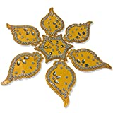 Handmade Elegantly Designed Yellow Rangoli - With Star Shaped Base And Leaf Shape Design Decorated With Silver Coloured Stones - 7 Pieces Set