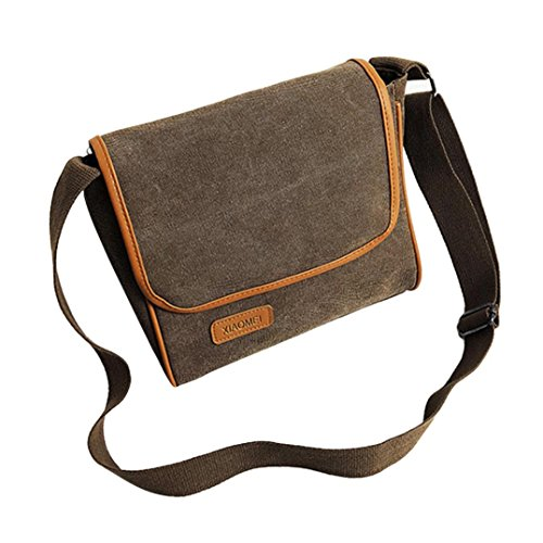 Crossbody Tasche, Huihong MäDchen Leinwand Messenger Schultertasche Schlinge Schultaschen Brieftasche MüNze Tasche Make-Up Tasche (Braun) (Cross-body-schlinge)