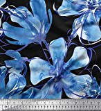 Soimoi Blau Viskose Chiffon Stoff Immergrün Blume Stoff