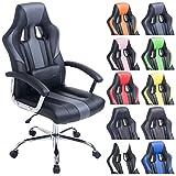 CLP Sedia da ufficio gaming OLIMPO in similpelle, poltrona da ufficio oscillante, sedia per scrivania regolabile in altezza e girevole | sedia per studio con portata 150 kg nero_grigio