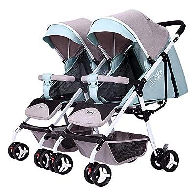 zxmpfg Cochecito doble, cochecito de bebé dividido, de lado a lado, disponible, recién nacido, de viaje, paraguas flexible. El cochecito plegable se puede ajustar por separado asiento y toldo cesta
