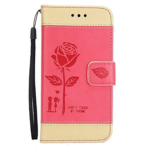 Gemischte Farben Rose Blume matt Premium PU Leder Brieftasche Stand Case Cover mit Lanyard & Card Slots für iPhone X ( Color : Brown ) Red
