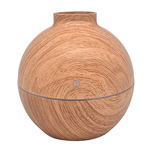 Diffusore di oli essenziali, Juleya diffusore umidificatori elettrici Utrasonic umidificatori nebbia fredda Aromaterapia per Home Office Spa with Light Circle Wood Brown