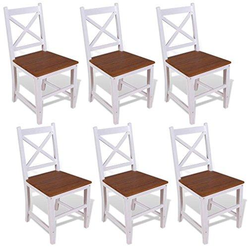 guyifuzhuangs Esszimmerstühle 6 Stück Massivholz Teak und Mahagoni Möbel Stühle Küchen- und Esszimmerstühle -
