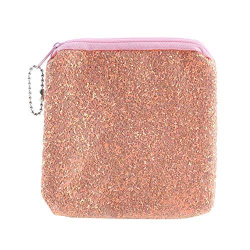 CAheadY Mode glitzernden quadratischen Mini Geldbörse Kopfhörer Kabel Aufbewahrungstasche Container Pink