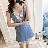 Kllomm Silk Nightgown Damen Nachthemd Dessous Deep V-Neck Lace Trim Homedress...