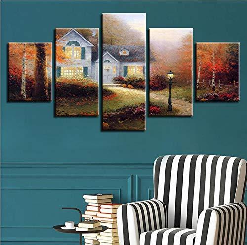 Wandkunst Leinwand Bild Nacht Hintergrund Schlafzimmer Dekor 5 Stücke Land Kabine Landschaft HD Gedruckt Poster Modulare Malerei -